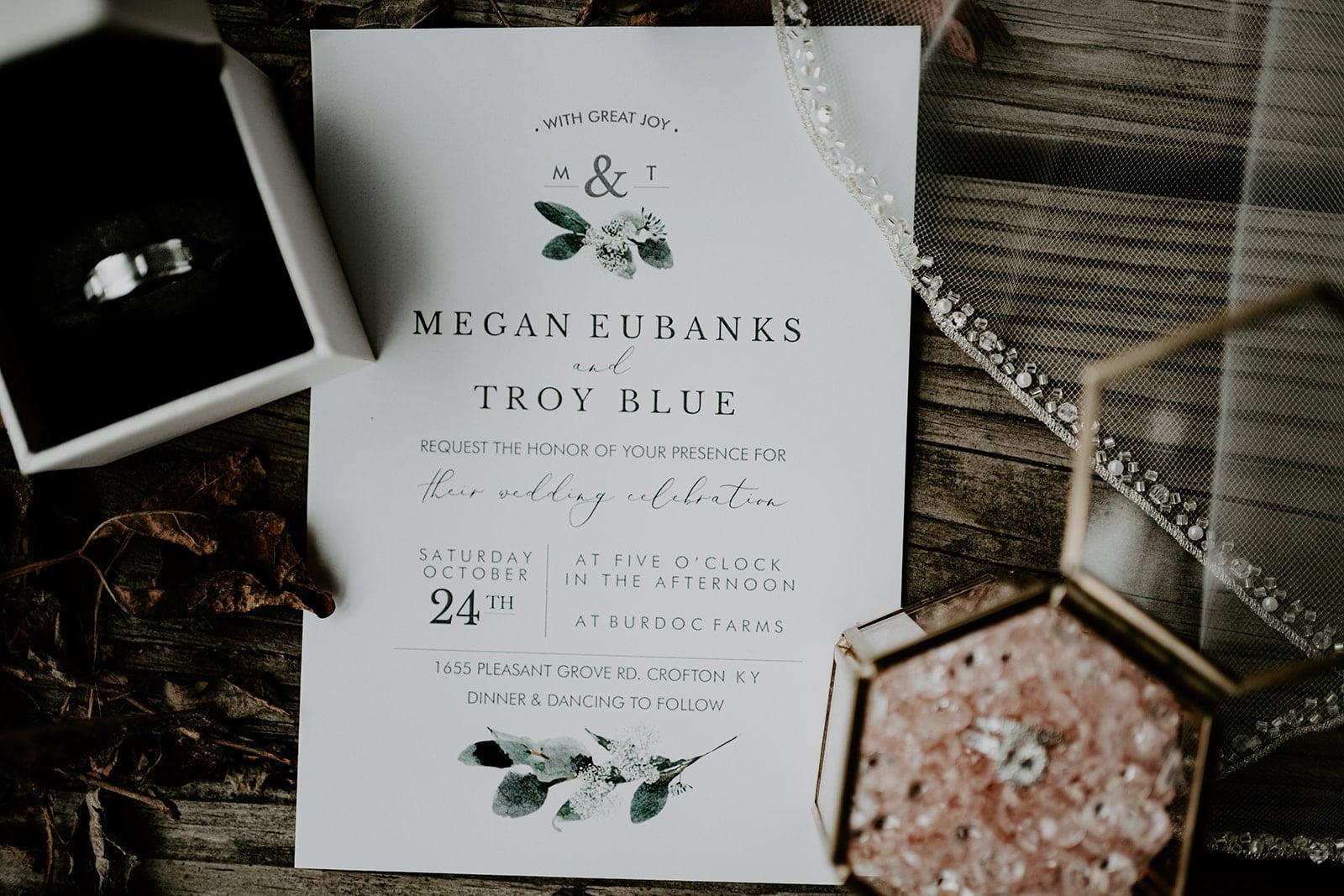 Greenery wedding invitation design