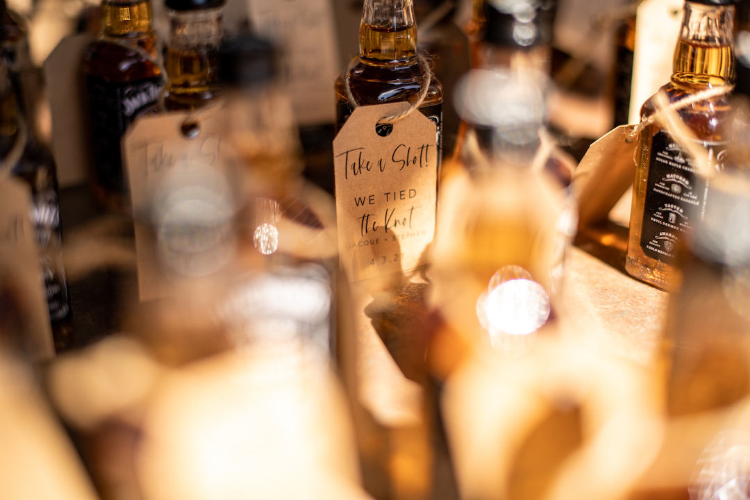 Whiskey Shot Wedding Escort Cards