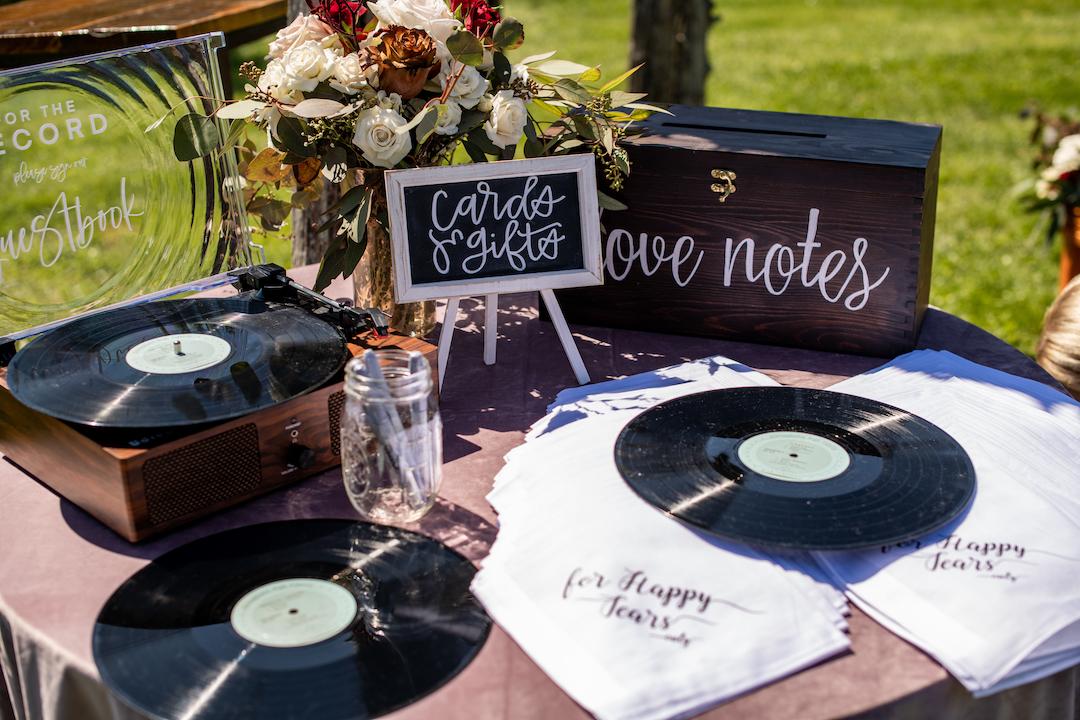 Vinyl records wedding guest book alternative