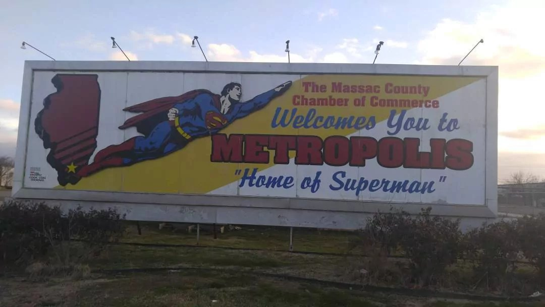 Superman in Metropolis, Illinois - welcome sign