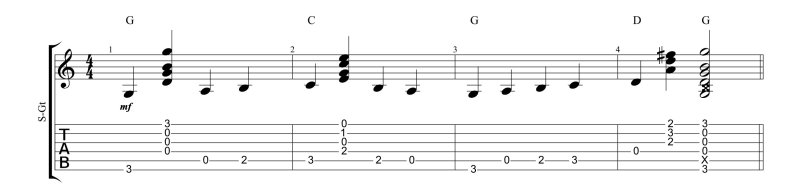 Bass walk connecting G and C chords