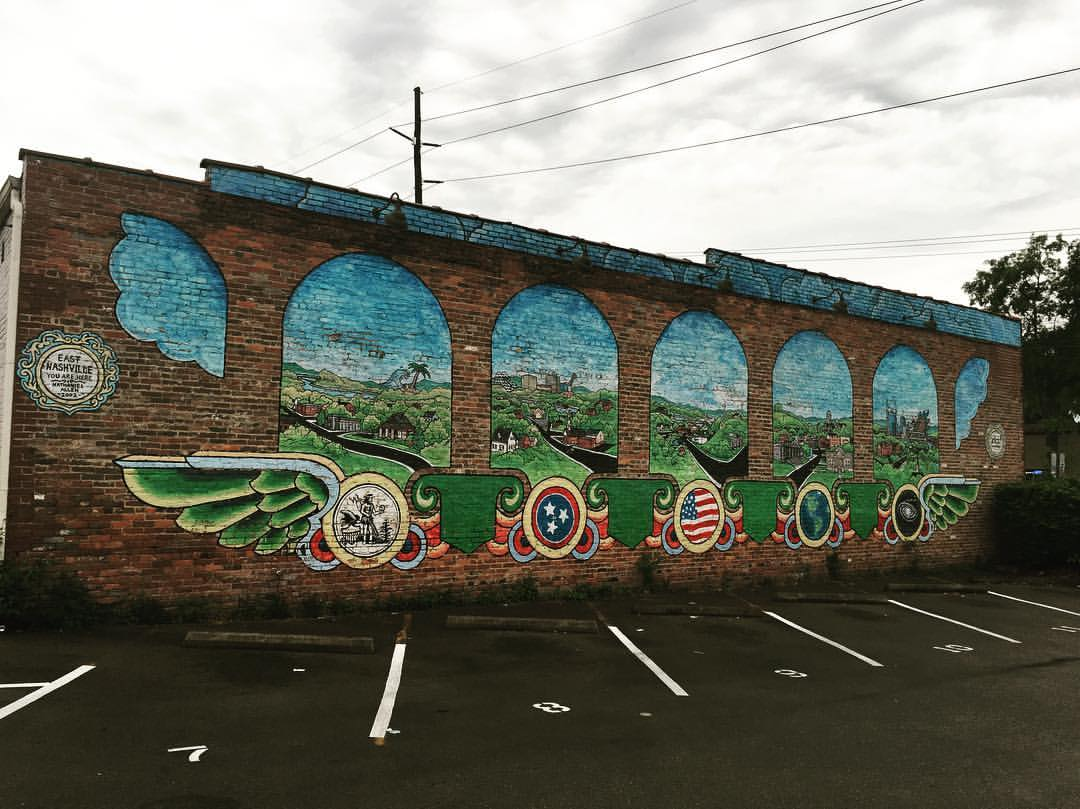 Street art mural depicting places in East Nashville