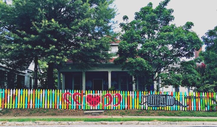 Fence mural armadillo street art Nashville