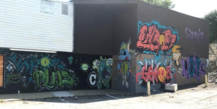 Graffiti cartoons street art mural Nashville