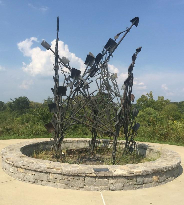 Shovel sculpture public art Nashville