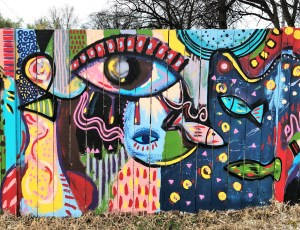 Eyes & fish mural street art Nashville