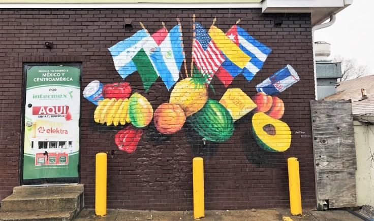 Flags & fruit mural street art Nashville