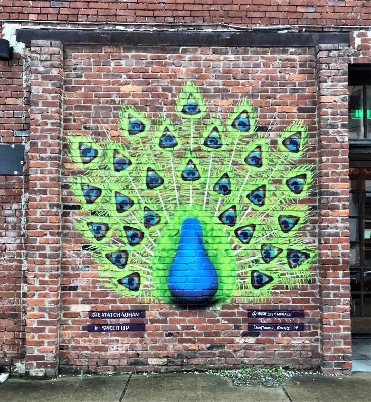 Chauhan Peacock mural street art Nashville