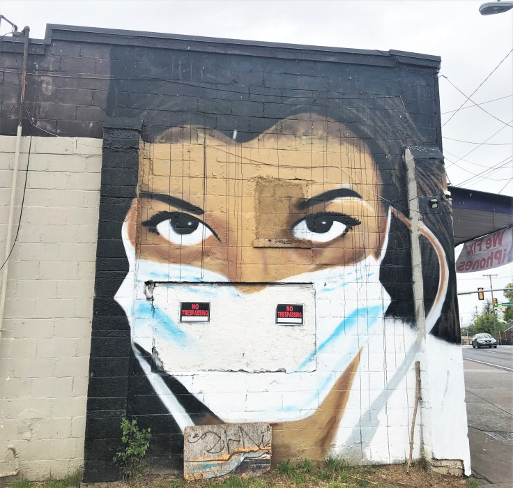 Masked doctor mural Nashville street art