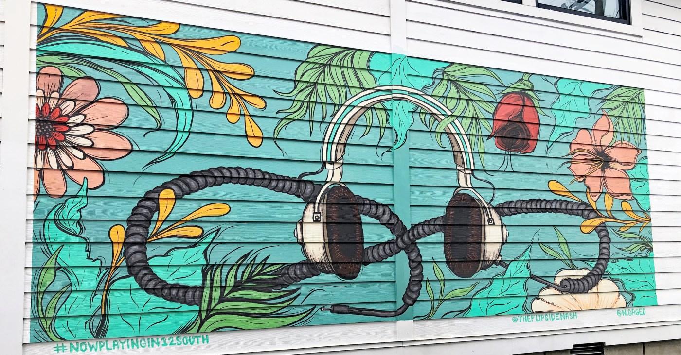 Flipside headphone mural Nashville street art