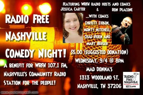 Radio Free Nashville Comedy Night 9/4 at MadDonna's!