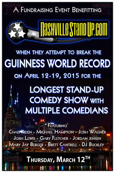 Zanies benefit showcase fundraiser to help supplement the costs of  NashvilleStandUp's Guinness World Record attempt!