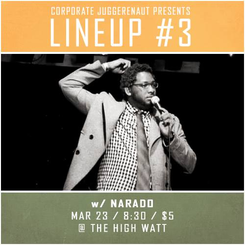 DJ Buckley at Lineup #3 comedy special taping at The High Watt - March 23, 2015