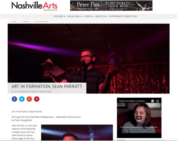 Sean Parrott in Nashville Arts Magazine