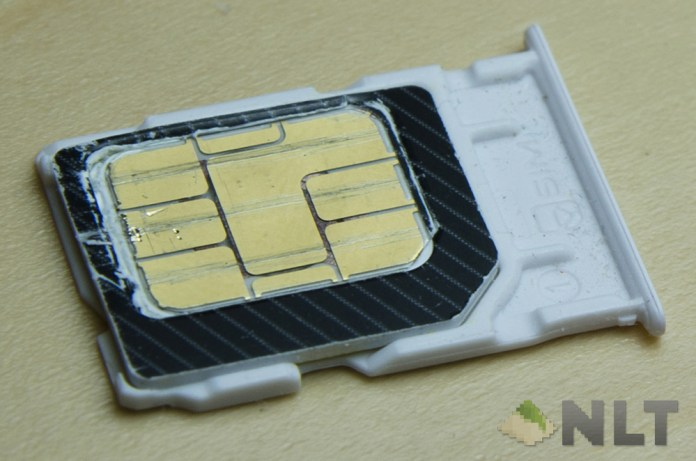 Micro SIM cut into a nano SIM while keeping leftovers as adapter.