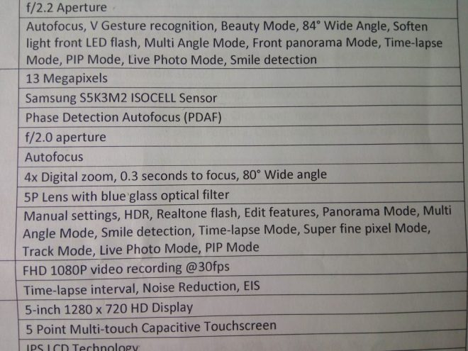 Specs of the camera featured on the Alcatel Flash 2.