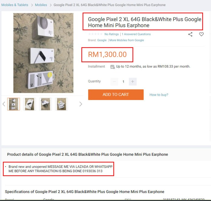 Lazada Scam Google Pixel 2 XL