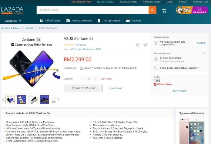 ASUS ZenFone 5z 8GB + 256GB storage