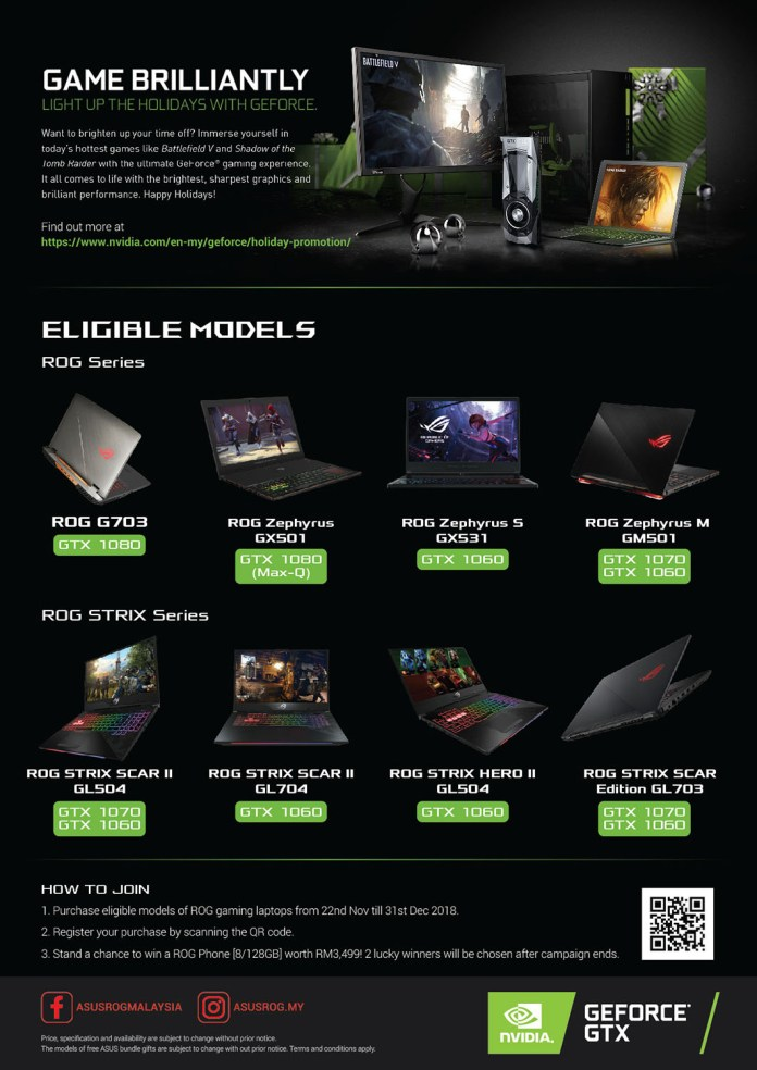 ASUS Gaming Holiday Promotion 2018