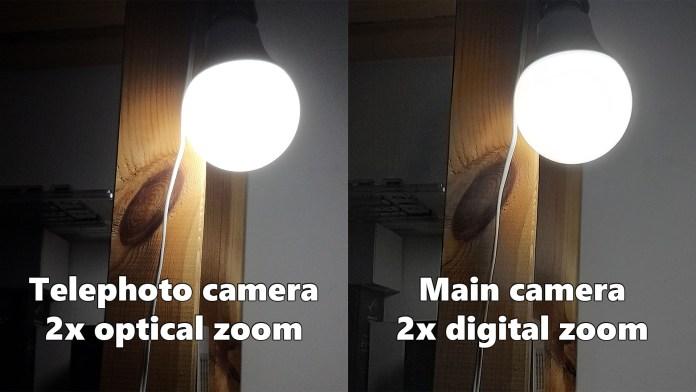 Telephoto optical zoom compare with main camera digital zoom