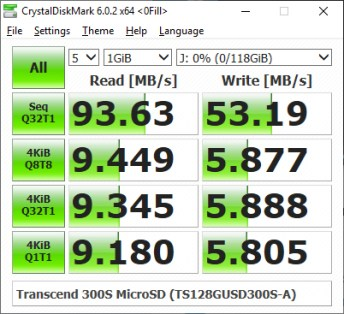 Transcend 300S microSD CrystalDiskMark benchmark