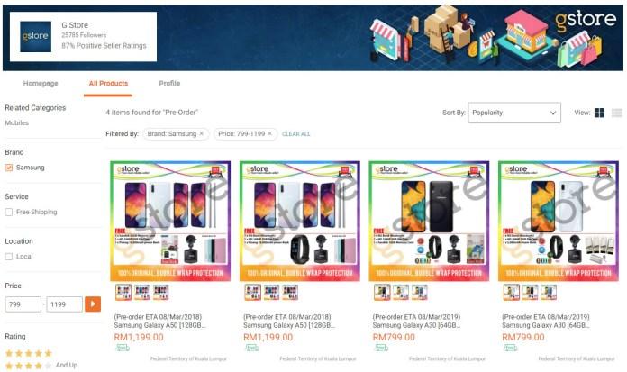 Samsung Galaxy A30 Galaxy A50 Lazada listing pre-order