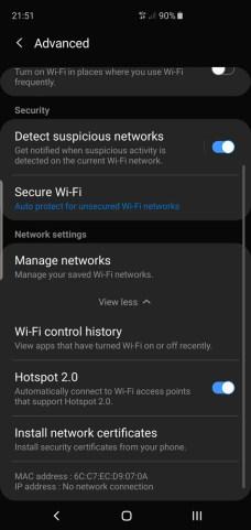 Samsung Galaxy S10 Galaxy S10+ WiFi security