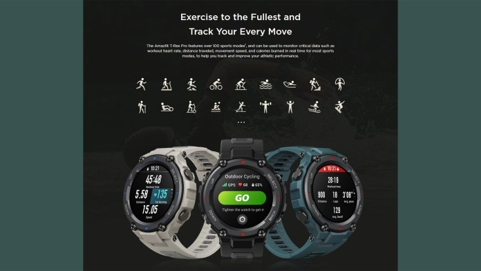 Amazfit T-Rex Pro sports modes