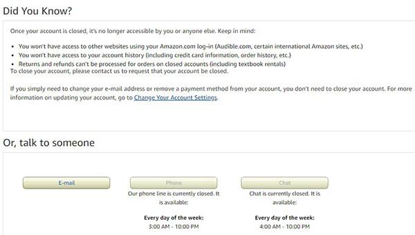 amazon account closure