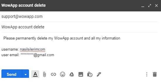 comment supprimer un compte wowapp