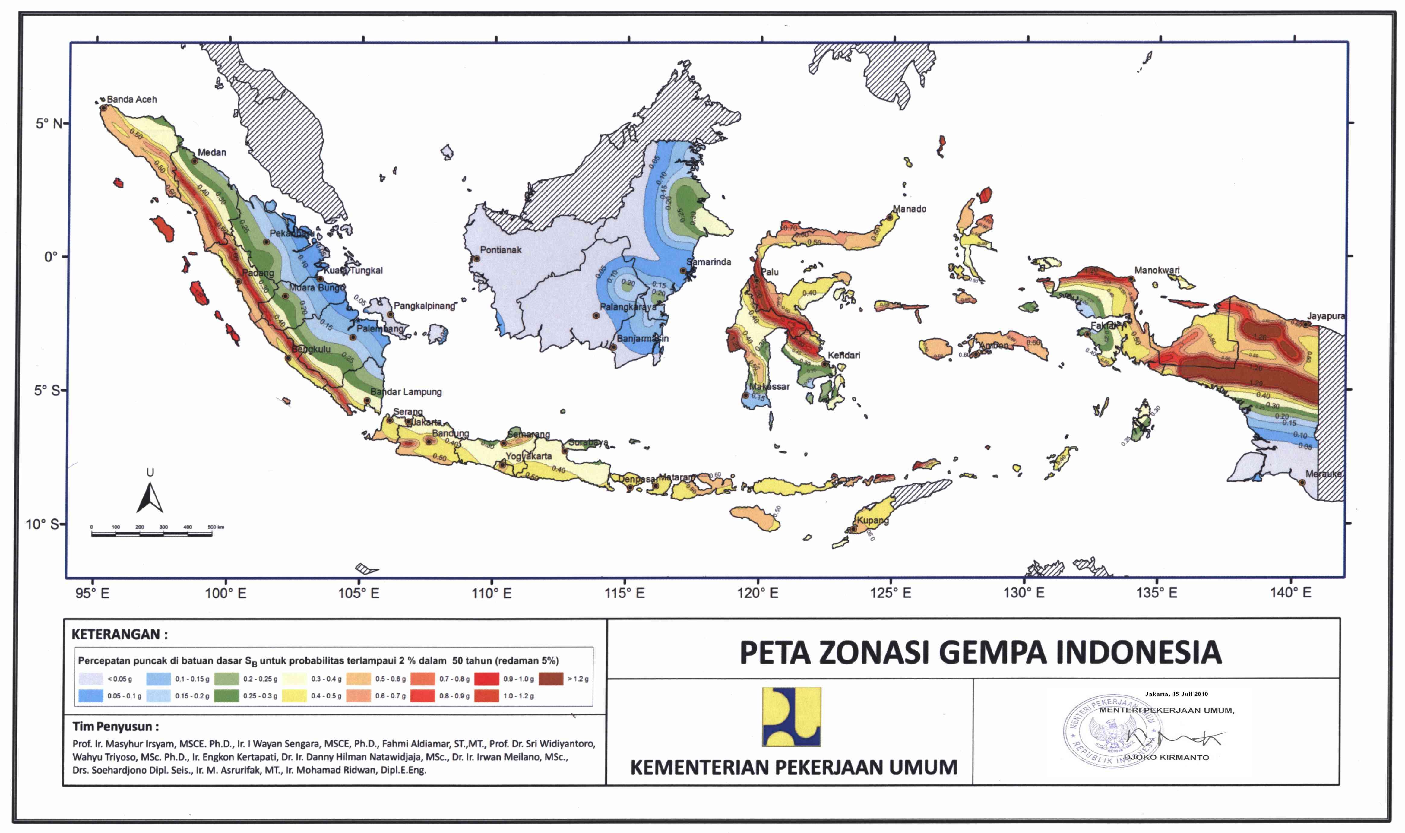 Peta Zonasi Gempa Tahun
