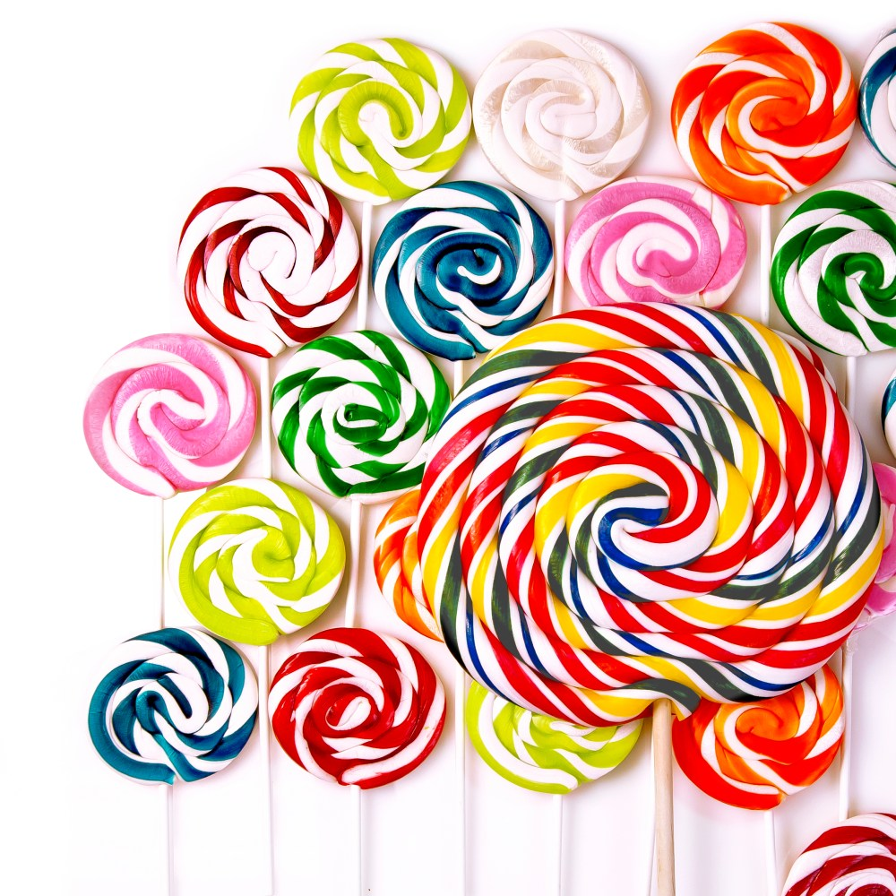 Giant colorful whirly pops