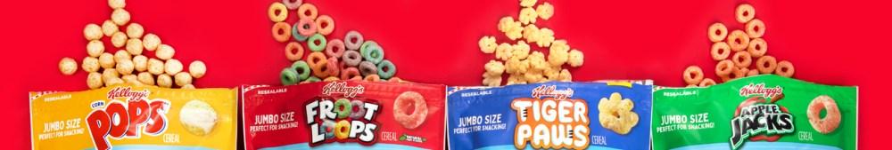 cereal, breakfast foods, Kellogg's Jumbo Snax, Froot Loops, Corn Pops, Apple Jacks