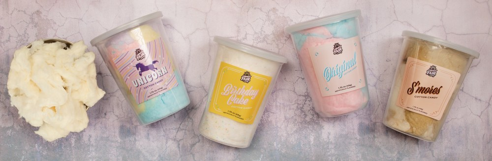 cotton candy, s'mores cotton candy, birthday cake cotton candy, County Fair cotton candy, cotton candy tubs, unicorn cotton candy