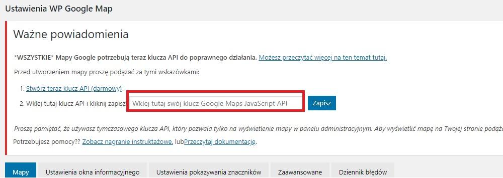 Wordpress - WP Google Maps. Klucz API