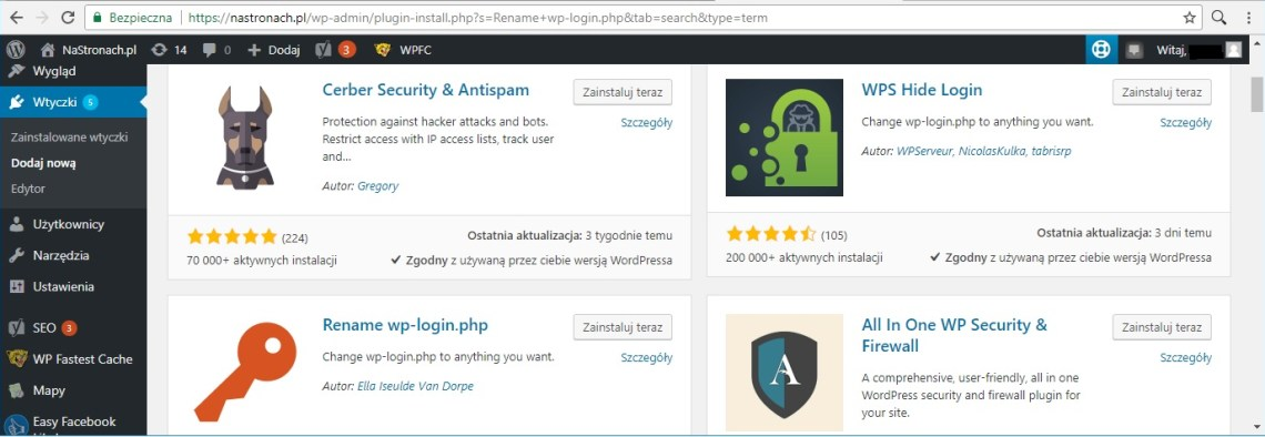 Wordpress - zmiana linku logowania admina