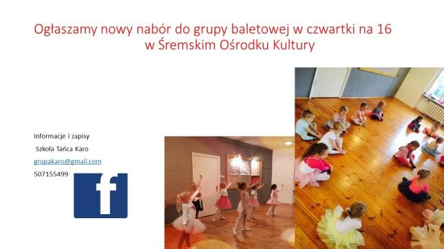 Plakat naborowy do grupy baletowej w Śremskim Ośrodku Kultury