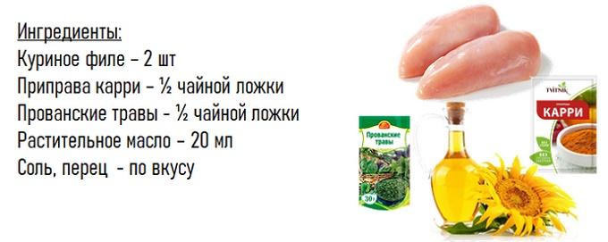 Жеңдер тауық еті - ингредиенттер