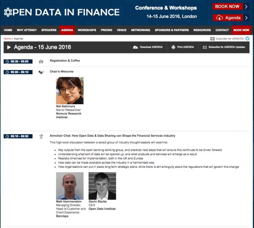 Open Data in Finance Agenda Top