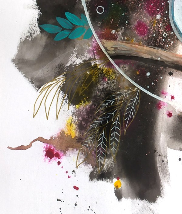 Eurylaime-argente-o1-detail-plume-feuille-3- exposition-natacha-perez-artiste-peintre-street-art-contemporain-urbain-peinture-dessin-techniques-mixtes-artiste