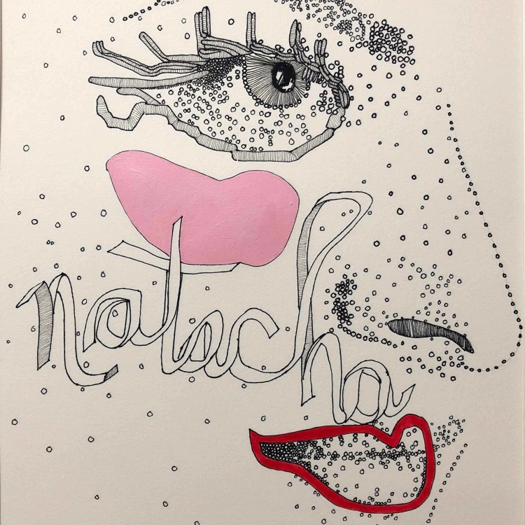 side view of face with Natacha name