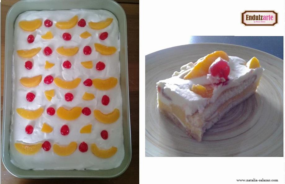 Trifle de durazno, crema y flan