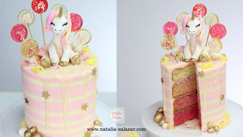 Torta unicornio con rayas