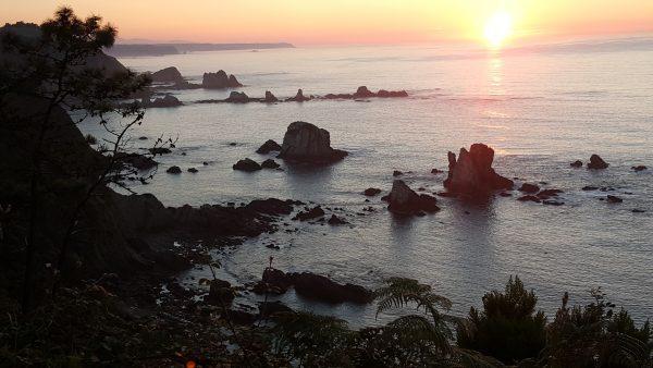 Atardecer en el mar. El horizonte se visualiza con un cielo rosado, azul celeste