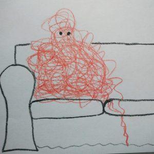 bałagan na kanapie. szkic z natury