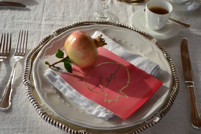 table styling ideas with pomegranate in Tuscany