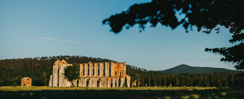 The Roofless Abbey of San Galgano unique wedding location in Italy