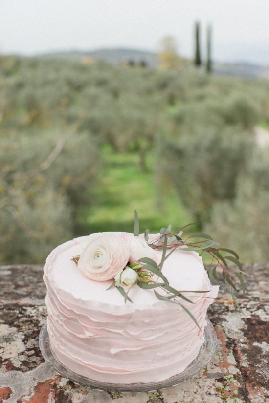 The delicate pastel pink pre-wedding cake was topped with some lovely ranunculus to continue the flower statement