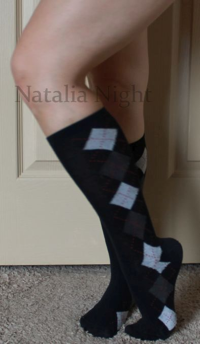 Black Grey Argyle Calf. Worn. Unknown brand. $15.