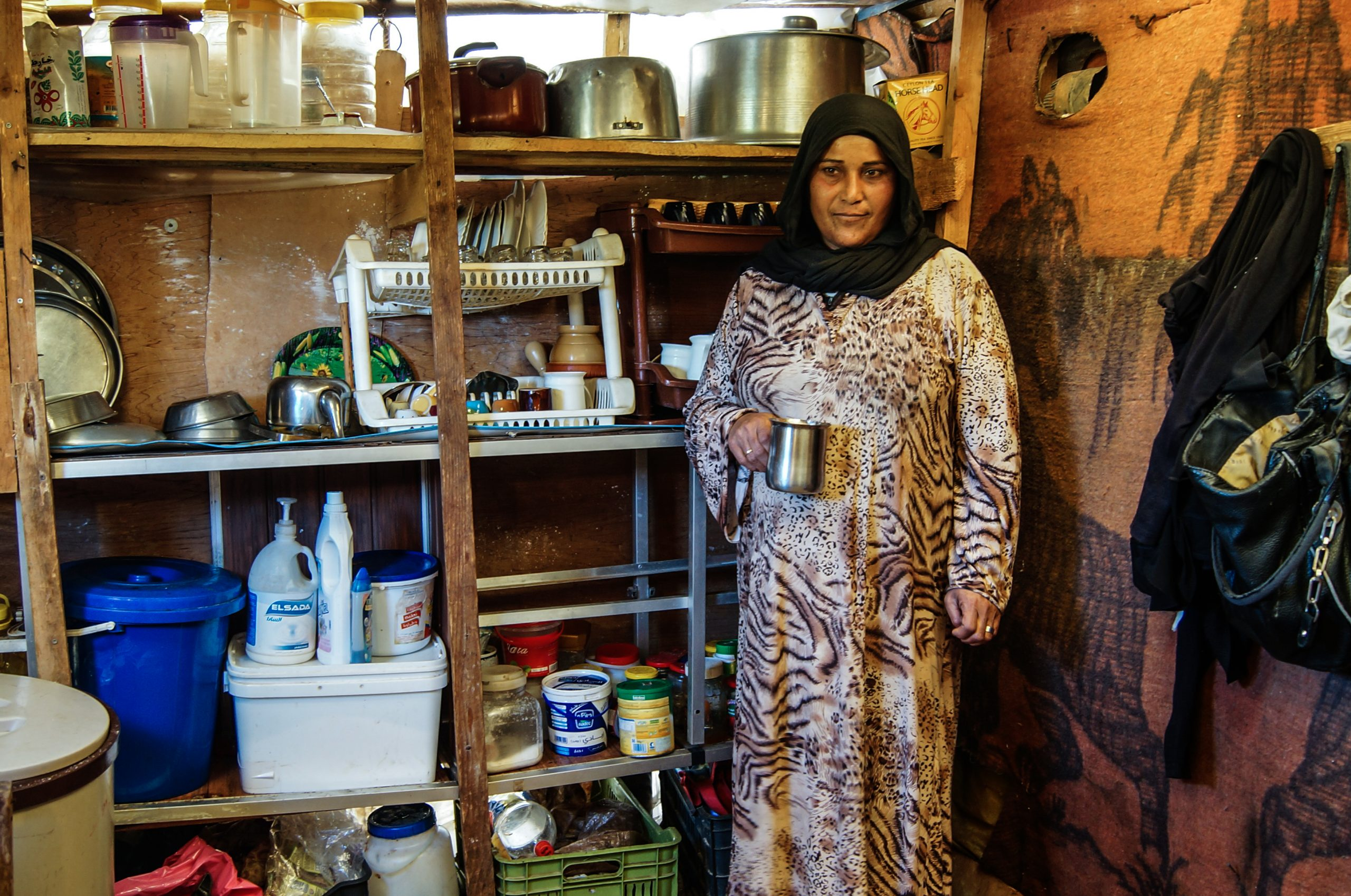 Zeinab in her small but very tidy and well organised kitchen